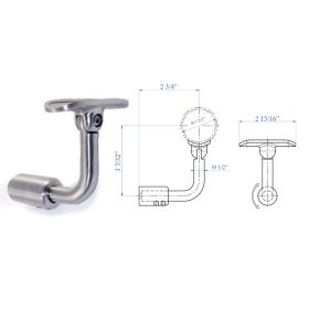 """Handrail Support for Flat Post Mount, Lateral Fastening, Pivotable, for 1-2/3"""" dia. Tubing, 316 Satin Stainless Steel"""