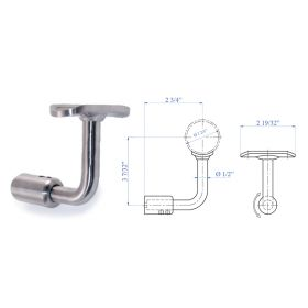 """Handrail Support for Flat Post Mount, Lateral Fastening, Rigid, for 1-2/3"""" dia. Tubing, 316 Satin Stainless Steel"""