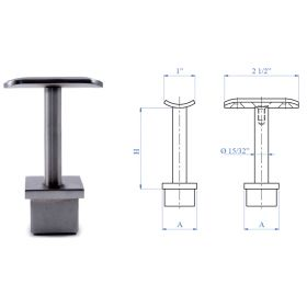 """Stainless Steel Handrail Support 2-61/64"""" high, Rigid, for 1-2/3"""" dia. tube"""
