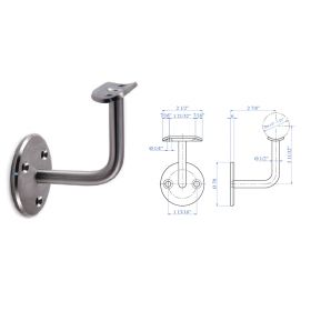 "Stainless Steel Handrail Support 2-61/64"" x 2-61/64"", 1/2"" diameter, with Rigid Mounting Plate"