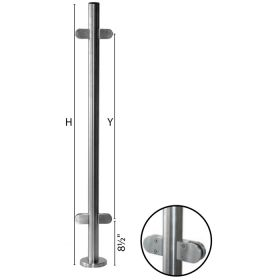 """Stainless Steel Round Newel Post with Glass Clamps for use with 1-2/3"""" diameter x 5/64"""" Tubing"""
