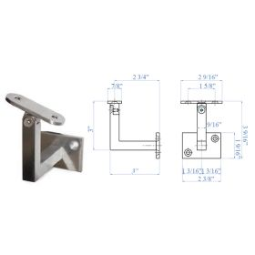 Stainless Steel Pivotable Handrail Support for Flat Tube