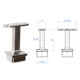 """Stainless Steel Handrail Support 2-61/64"""" high, Rigid, for Flat or Round Handrail"""