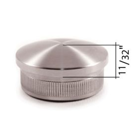 """Rounded End Cap for 1-2/3"""" dia. Tubing, 316 Satin Stainless Steel"""