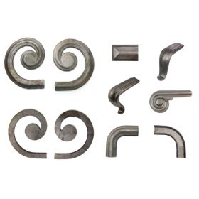 """1-15/16"""" wide Steel Lateral Scrolls and Fittings for H1252 Handrail Molding"""