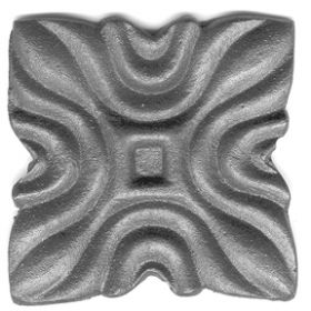 """3"""" sq. Steel Rosette, Single Faced, 1/8"""" Thick"""
