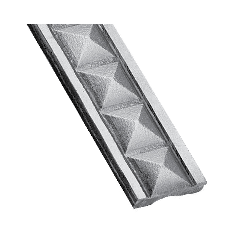 """Patterned Steel Flat Bar with 3D Pyramid Design, 9'8"""" long"""