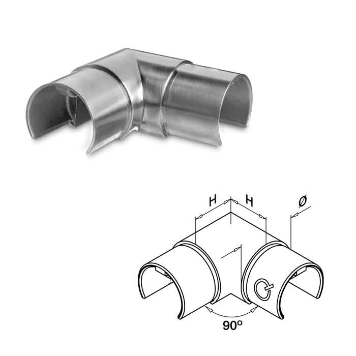"Easy Glass® 90 degree Corner Connector for 1.66"" dia. Cap Rail"