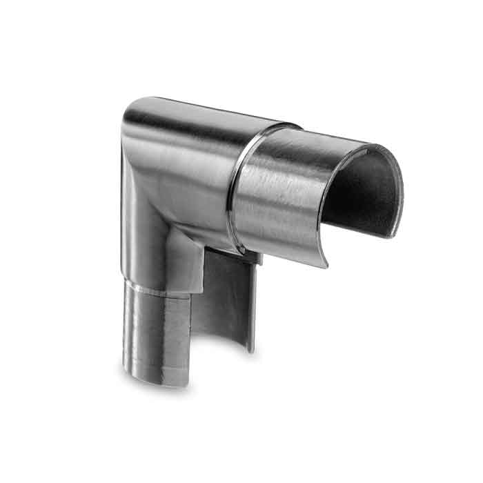 "Easy Glass 90 degree Elbow for 1.66"" dia. Cap Rail, 304 Satin Stainless Steel"