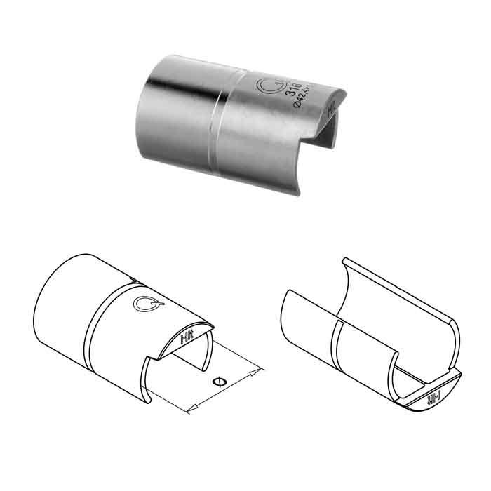 "Easy Glass® Easy Hit® Cap Rail Connector for 1.66"" dia. Cap Rail"
