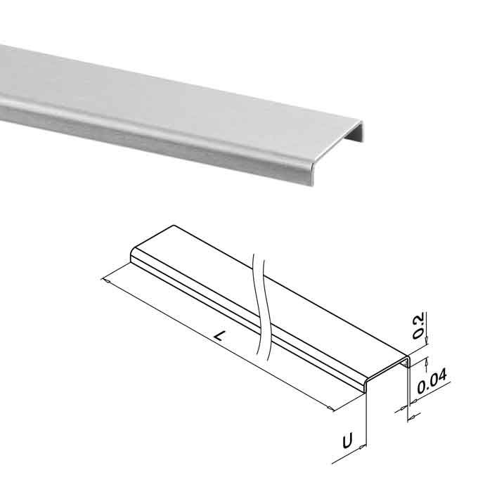 """Edge Protection for 1/2""""-9/16"""" Glass, Rectangular Profile, 16'4"""" Long, 316 Stainless Steel"""
