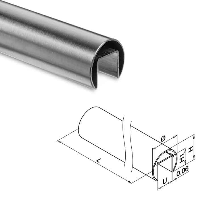 """Easy Glass® 1.9"""" dia. Cap Rail in Stainless Steel"""