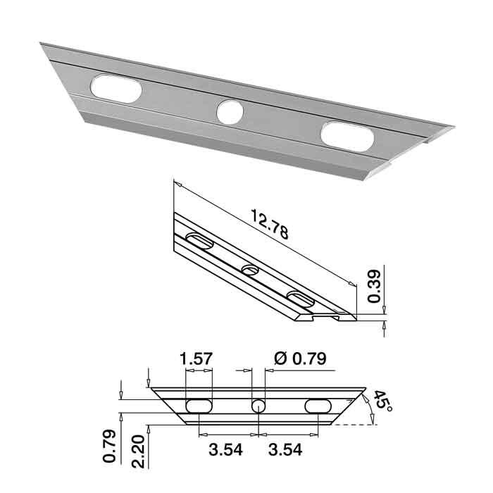 "12-3/4"" Long Drainage Profile, Brushed Anodized Aluminum, Top Mount, Easy Glass Slim"