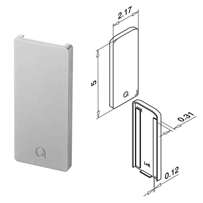 End Fitting, use with Cladding, Zinc, Top Mount, Easy Glass Slim