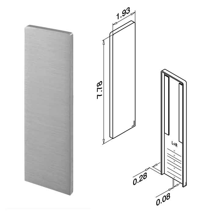 End Fitting for Stairs, Brushed Anodized Aluminum, Top Mount, Easy Glass Slim
