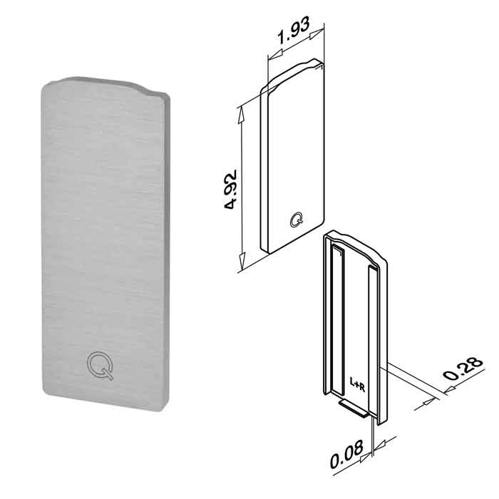 End Fitting, Brushed Anodized Aluminum, Top Mount, Easy Glass Slim