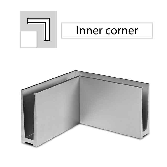 90 degree Inner Corner, Top Mount, Easy Glass Slim, Brushed Anodized Aluminum
