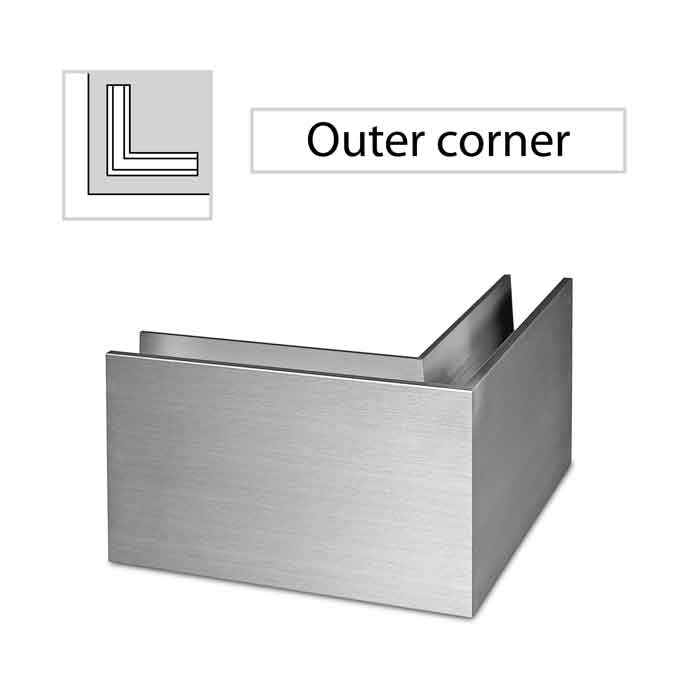 90 degree Outer Corner, Top Mount, Easy Glass Slim, Brushed Anodized Aluminum
