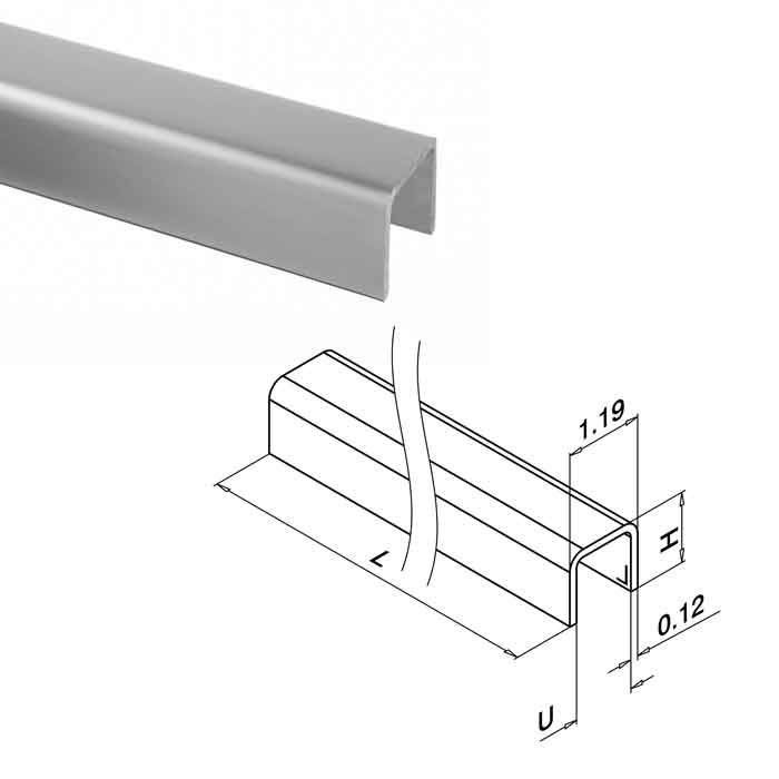 """Edge Protection for 5/16""""-27/32"""" Glass, U-Profile, 16'4"""" Long, 316 Stainless Steel"""