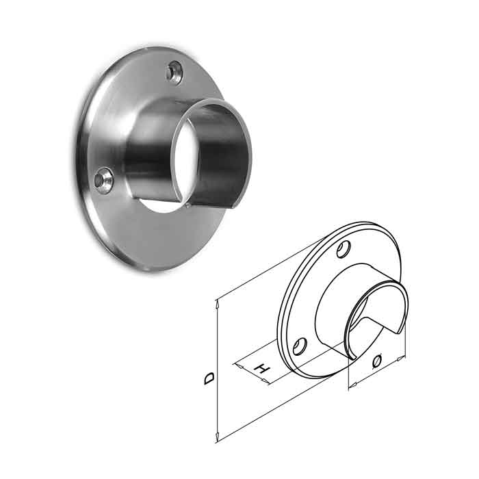 """Easy Glass® Wall Flange for 1.66"""" dia. Cap Rail"""