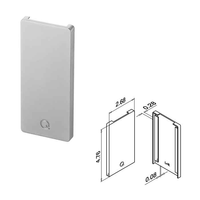 End Fitting, use with Cladding, Zinc, Top Mount, Easy Glass Smart