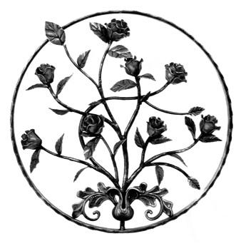 """21-5/8"""" dia. Steel Rose Flower Panel, Unpainted"""