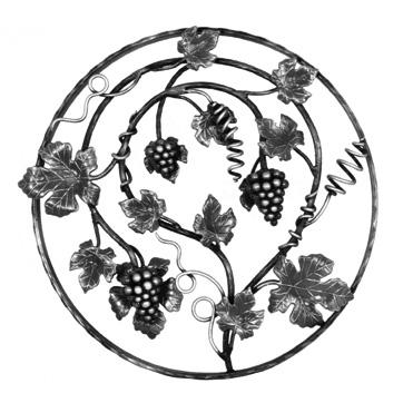"""21-5/8"""" dia. Steel Grape and Leaf Panel, Unpainted"""