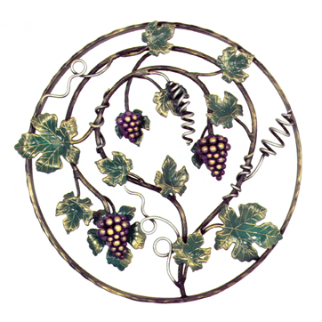 """21-5/8"""" dia. Steel Grape and Leaf Panel, Painted and Galvanized"""