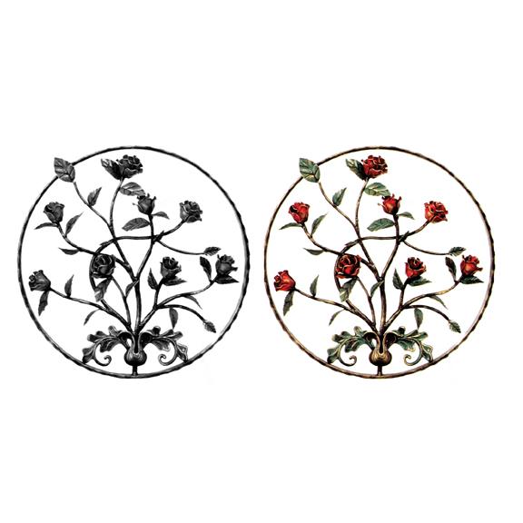 Steel Roses & Leaves Flower Panels, Painted and Unpainted