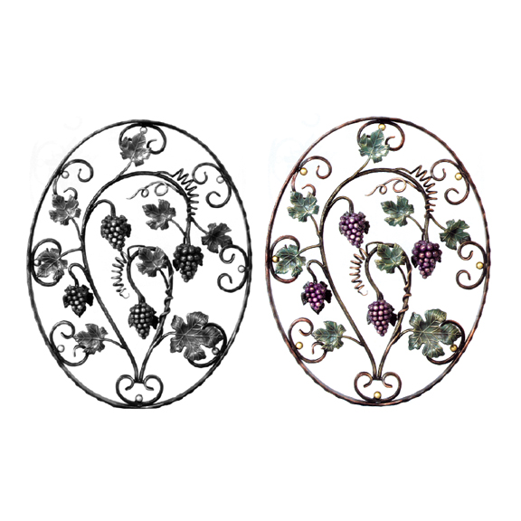 Steel Grapes & Leaves Oval Flower Panel, Painted and Unpainted