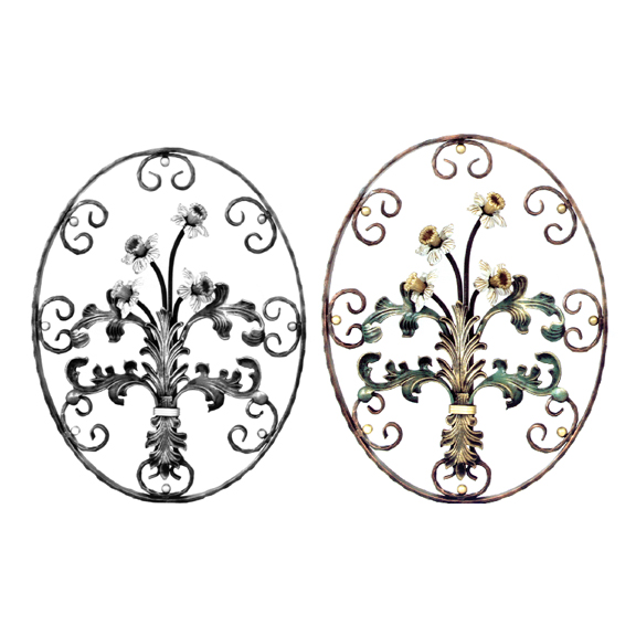 Steel Daffodils & Leaves Oval Flower Panel, Painted and Unpainted