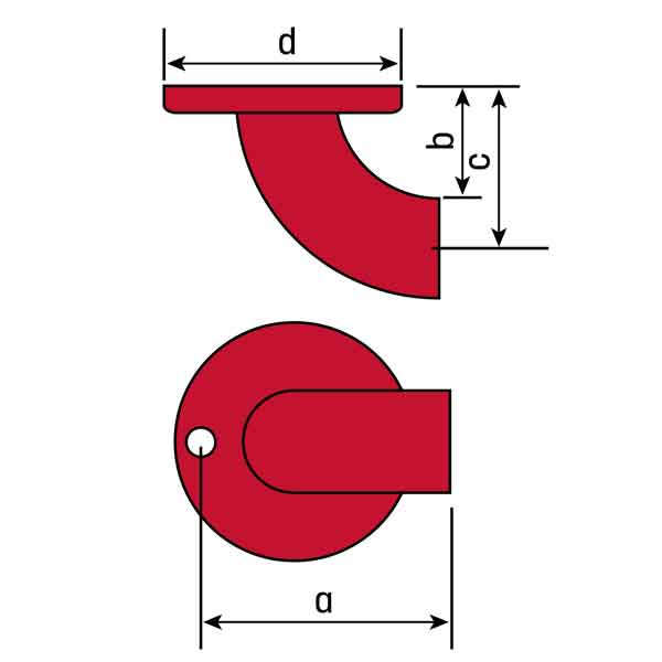 """Flush Weld Wall Return, for 1-1/4"""" Pipe, Steel, One 3/8"""" Hole"""