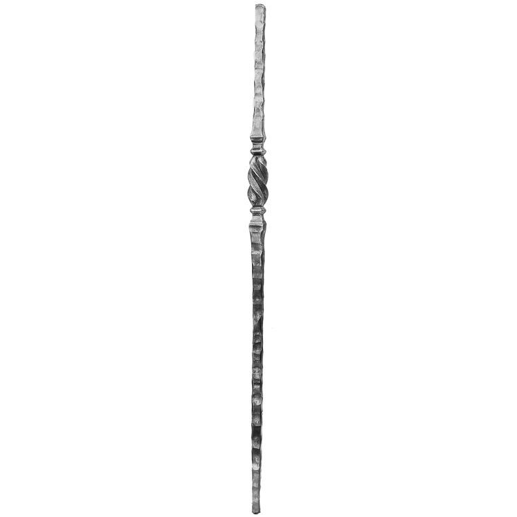 """1"""" sq. Forged Steel Hammered Newel Post with Twisted Collar"""
