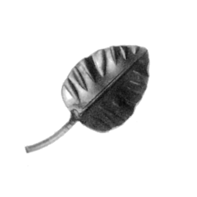 "Forged Steel Rose Leaf w/Stem, 1/16"" Thick, 3-1/4"" Tall"