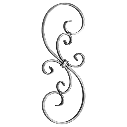 """1/2"""" x 1/4"""" Forged Steel S-Scroll Panel, 15-3/4"""" Tall"""