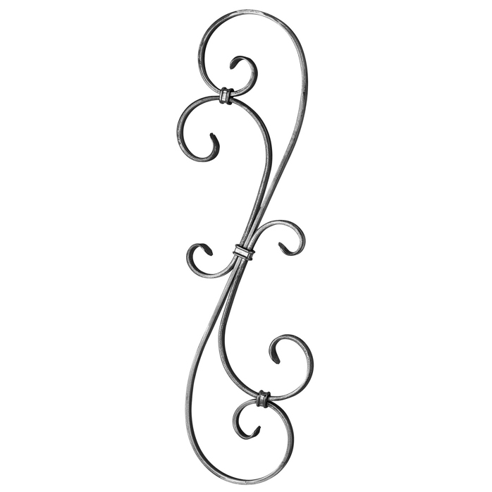 """1/2"""" x 1/4"""" Forged Steel S-Scroll Panel, 23-5/8"""" Tall"""