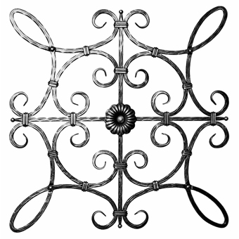 "1/2"" sq. Forged Steel Hammered Scroll Panel with Double Sided Rosette"