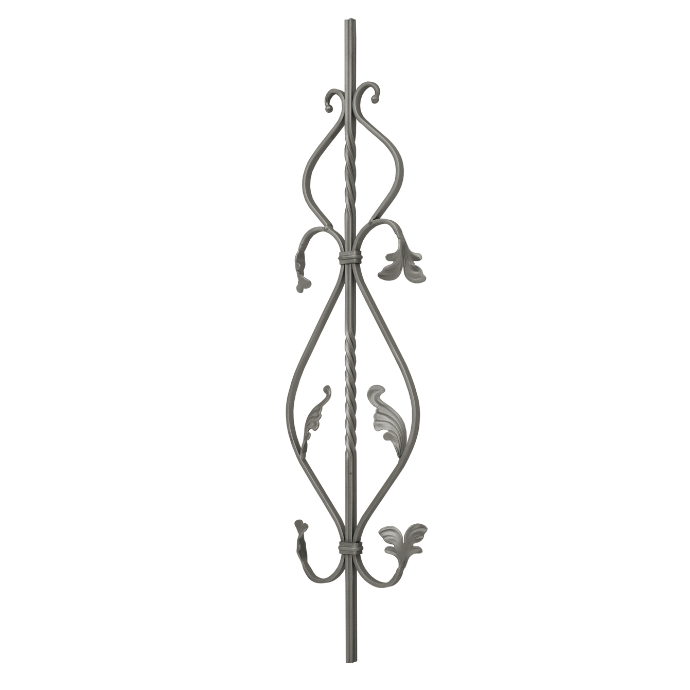 """1/2"""" sq. Forged Steel Panel with Various Scrolls and Leaves, 35-7/16"""" Tall"""