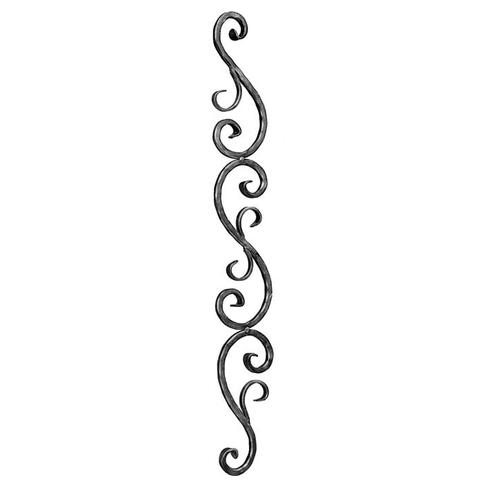 """1/2"""" sq. Forged Steel Scroll Panel w/Various S-Scroll Shapes, 35-7/16"""" Tall"""