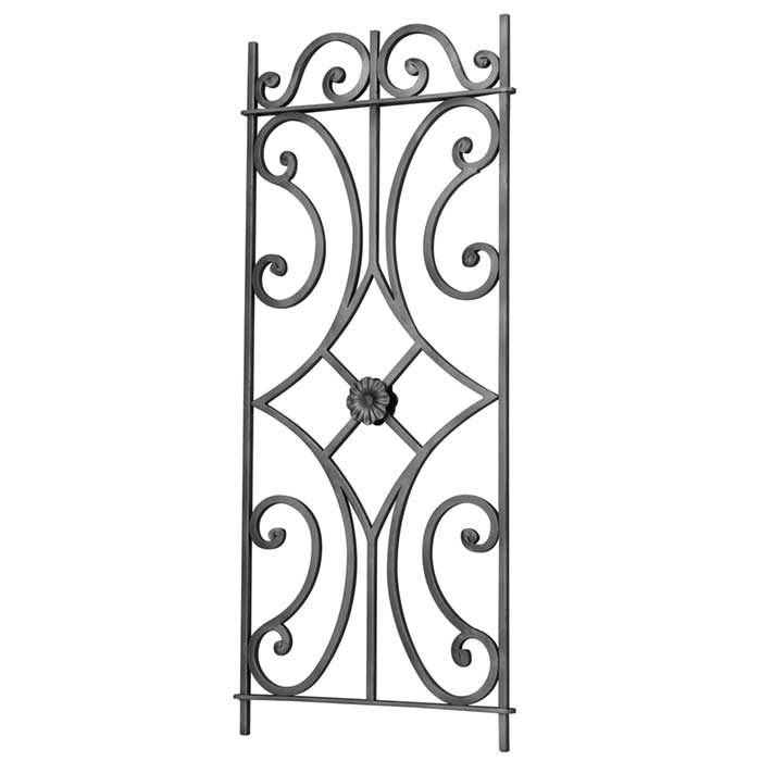 "1/2"" sq. Forged Steel Framed Panel w/Scrolls and Center Rosette, 39-3/8"" Tall"