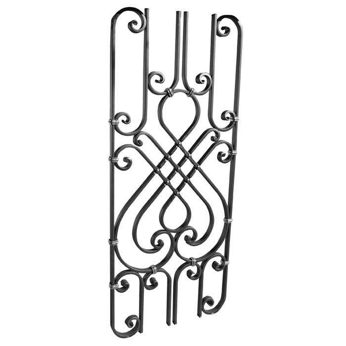 "5/8"" x 5/16"" Forged Steel Panel w/ Scroll Design, 39-3/8"" Tall"