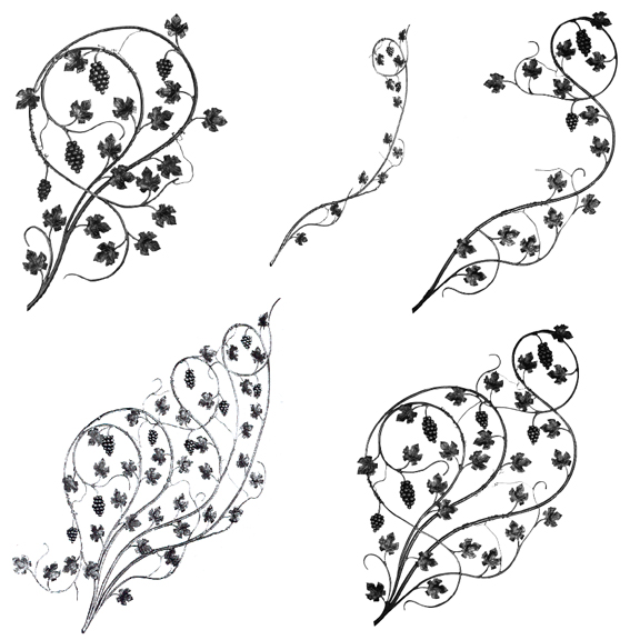 Italian Forged Steel Scroll Panels with Grapes and Leaves