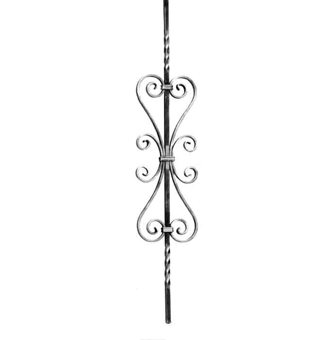 """1/2"""" sq. Forged Steel Baluster w/Center Scroll and Twists, 35-7/16"""" Tall"""