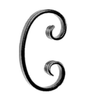 """1/2"""" x 1/4"""" Forged Steel C-Scroll, 5-3/8"""" Tall"""