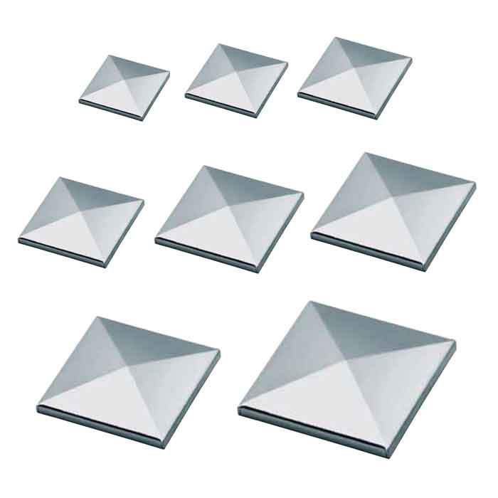 "Galvanized Steel Pyramid Caps for 1-1/4"" to 8"" Square"