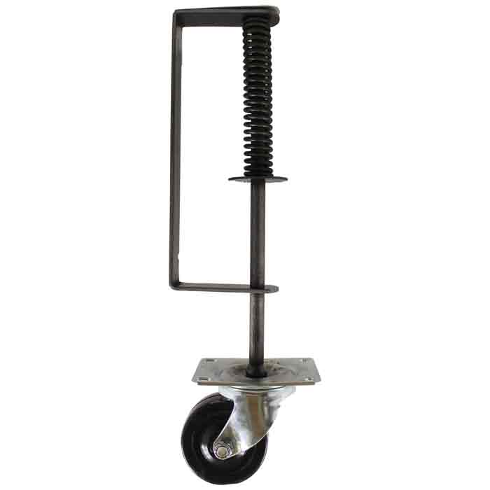 "Gate Roller Spring w/ 3"" Swivel Caster, 100lbs. Capacity, 16-3/4"" Tall, Mill Finish"