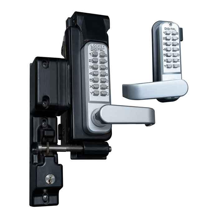 SUMO GL2 Surface Mount Gate Lock, Double Combination, Satin Chrome, Marine Grade, Reversible Handles