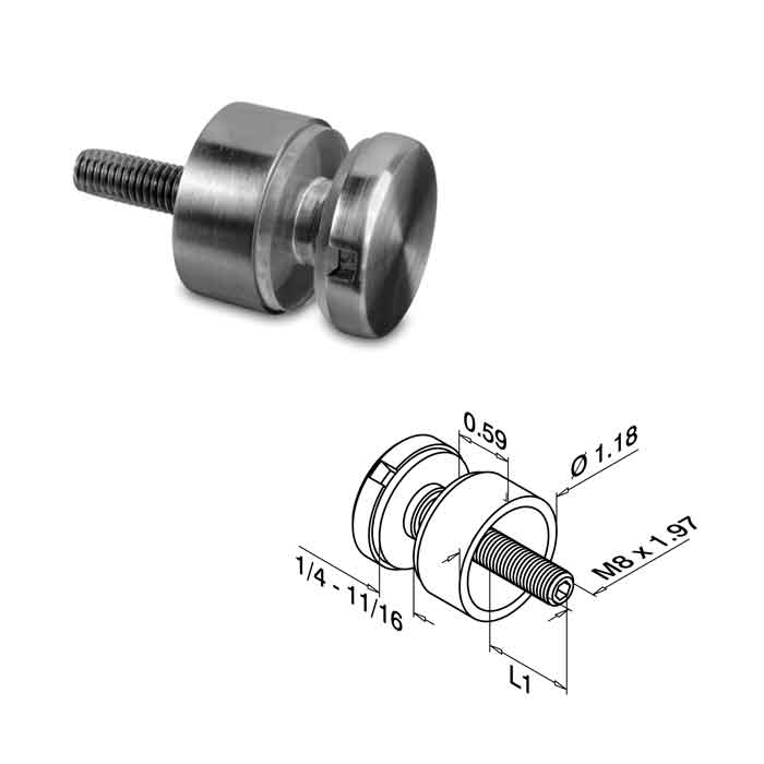 "Glass Adapter, Flat to Glass for 1/4"" - 11/16"" Glass, 316 Satin Stainless Steel"