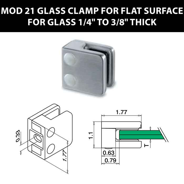 """MOD 21 Square Glass Clamps for Flat Surface for 1/4"""" to 3/8"""" Thick Glass"""