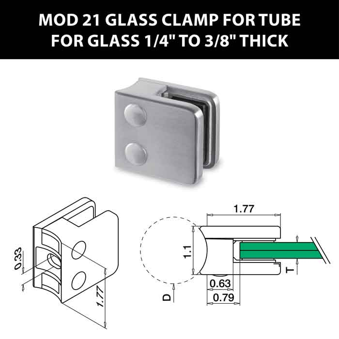 """MOD 21 Square Glass Clamps for Tube for 1/4"""" to 3/8"""" Thick Glass"""